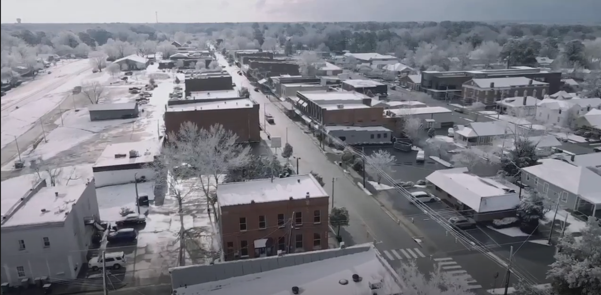 Downtown Clayton NC Snow
